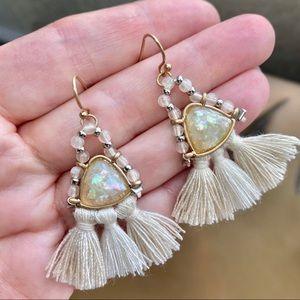 Vintage Fringe Opal Dangles Rare Earrings Gold vtg